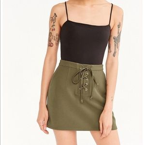 green lace up mini skirt